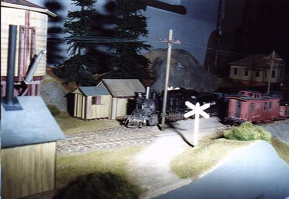Railroad crossing in the yard-area
